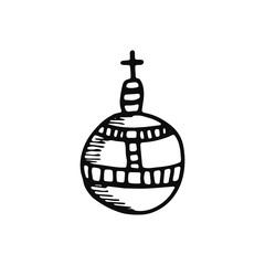 scepter of the king icon. sketch isolated object black