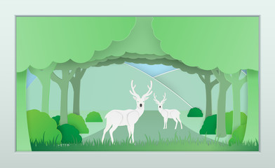 Vector nature and forest where the deer and wild animals live.And the plentiful world .