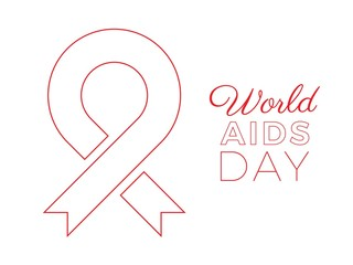 world aids day banner layout design with text and red ribbon of aids awareness. easy to edit and customize vector illustration for greeting cards, posters, invitations, brochures. eps10