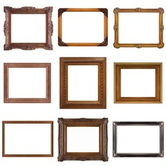 Set of wooden and silver frames for paintings, mirrors or photos