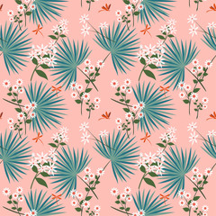 Cute white flowers with tropical leaves on pastel seamless pattern,design for fashion,fabric,textile,print or wallwaper