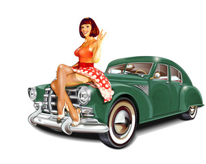 Pin-up girl and retro car isolated on white background