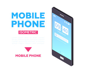 Mobile phone web banner - modern vector isometric illustration