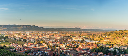 Wide panorama of Alba city in Piedmont, Italy