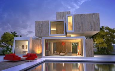 Wood and stone luxury villa
