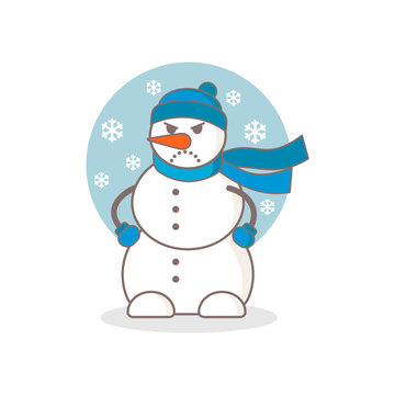 Angry snowman vector illustration