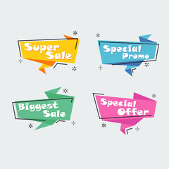 Collection of Sale Discount Styled Banners, ribbon, Emblems, Labels, Tags, ribbon. Flat design.