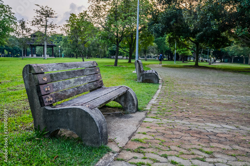 Old Style Stone Park Benches In A Beach In Pasir Ris Singapore
