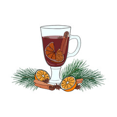 Hand drawn illustration of mulled wine. Winter composition of glass of wine, pine branch, seasoning and fruits on white background. Christmas illustration for holiday decoration, icon, poster, card.