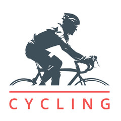 Cycling logo, cyclist on road bike, side view, isolated vector silhouette. Individual outdoor sport