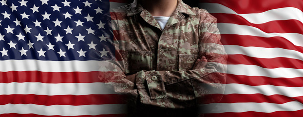 United States of America flag and soldier with crossed arms. 3d illustration
