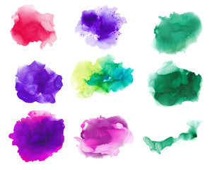 Set of alcohol inks abstract hand painted backgrounds