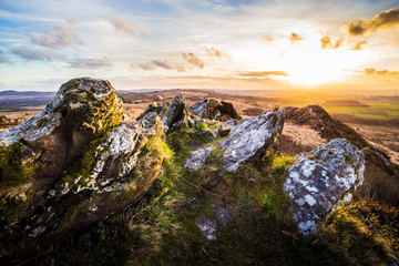 Backlighted Roc'h Trevezel by the sunset