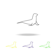 sea lion multicolored icons. Element of popular sea animals icon. Premium quality graphic design outline icon. Signs and symbols outline icon for websites, web design, mobile, UI