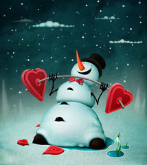Holiday greeting card or poster for Valentine's Day or Christmas or New Year  with  snowman with  barbell in  form of  heart.