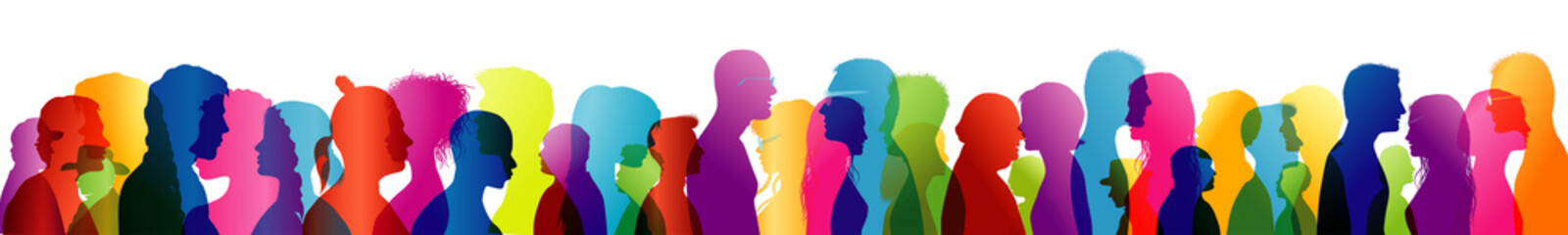 Group of people talking. Crowd talking. Speak. To communicate. Colored silhouette profiles Wall mural