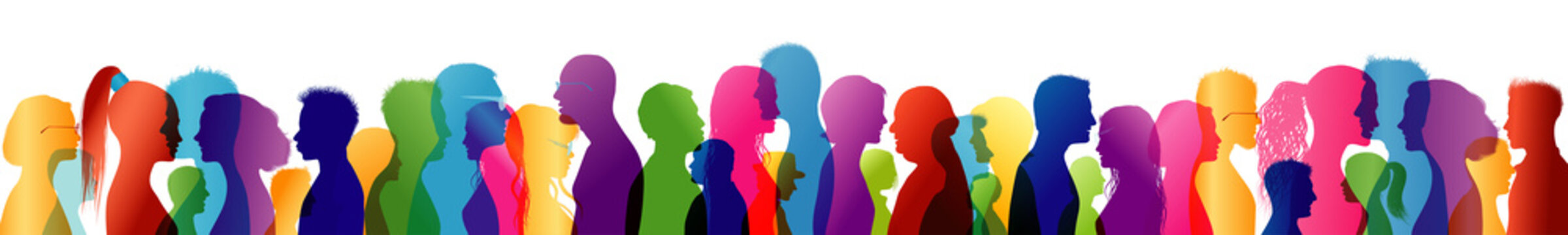 Crowd talking. Group of people talking. Speak. To communicate. Colored silhouette profiles