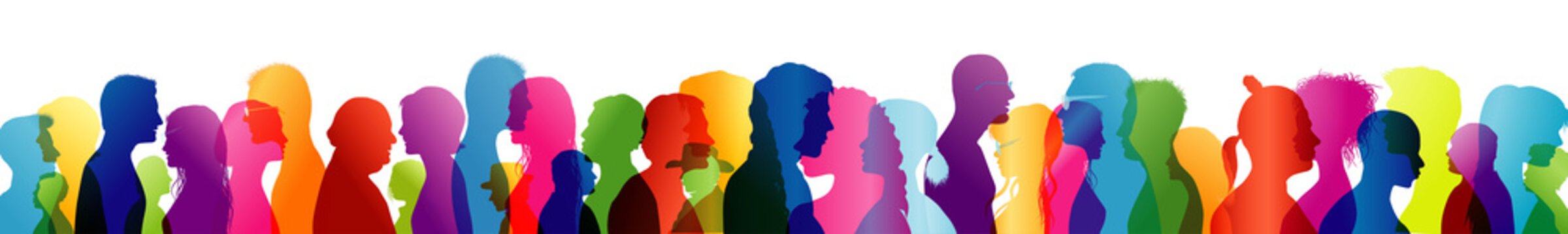 Group of people talking. Crowd talking. To communicate. Speak. Colored silhouette profiles