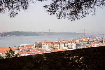 View of Old Town of Lisbon, Portugal, from Saint George Castle (Castelo de Sao Jorge)