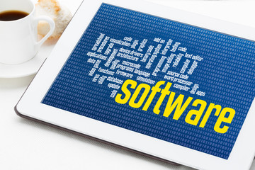 computer software word cloud on tablet