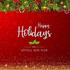 Happy Holidays and Joyful New Year Greeting Card. Happy Holidays and Joyful New Year Vector Design.
