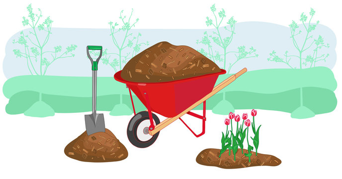 Mulch gardening concept vector illustration. Agriculture countryside outdoor seasonal work equipment.