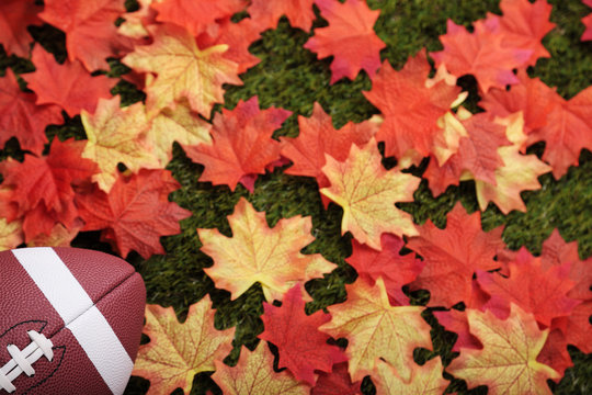 American football next to some autumn fallen maple leaves (focus on the ball)