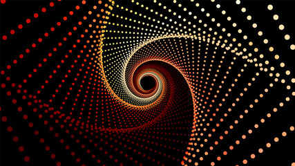 Vector infinite rhombic or square twisted colorful tunnel of shining flares. Glowing points form tunnel sectors. Abstract cyber colorful background for your designs. Geometric wallpaper