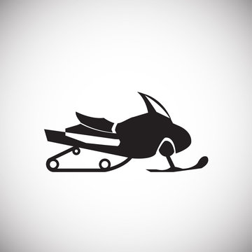 Snow mobile on white background icon