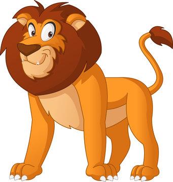 Cartoon cute lion. Vector illustration of funny happy animal.