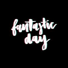 Glitch slogan Fantastic Day vector print for t-shirt print.