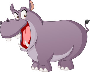 Cartoon cute hippo. Vector illustration of funny happy Hippopotamus.