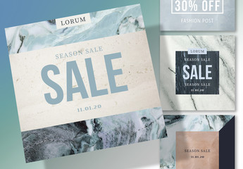 Social Media Post Layout Set with Marble Elements