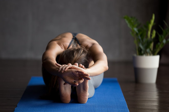 Young sporty woman practicing yoga, doing paschimottanasana exercise, Seated forward bend pose, working out, wearing sportswear, indoor full length, yoga studio