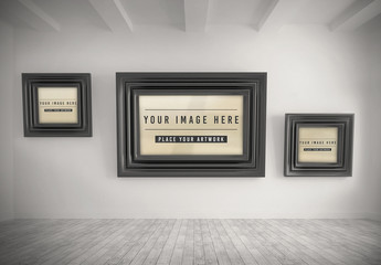 3 Photo Frames on Wall Mockup