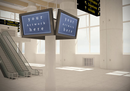 Airport Terminal Flight Screens Mockup