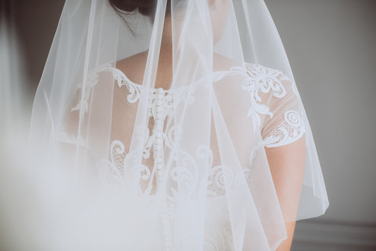Bride in a wedding dress with veil