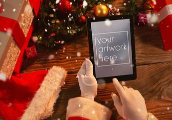 Santa Claus Holding Tablet Mockup