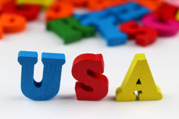 The word usa with colored letters