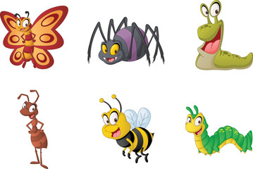 Group of cartoon insects. Vector illustration of funny happy small animals.