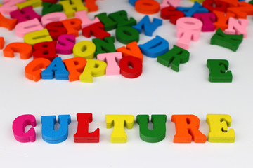 The word culture with colored letters