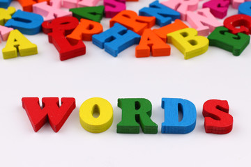 The word words with colored letters