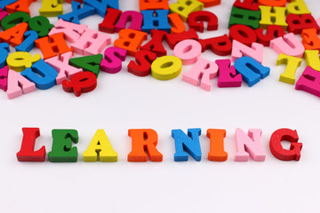 The word learning with colored letters