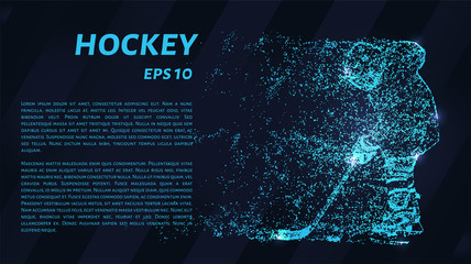 Hockey of blue glowing dots. Hockey player vector illustration.