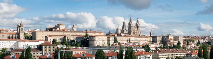 Santiago de Compostela wide panoramic view. Galicia, Spain. High resolution Wall mural