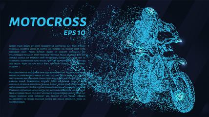 Motocross of blue glowing dots. Motorcyclist vector illustration.