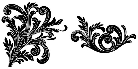 Set of vintage baroque ornament, corner. Retro pattern antique style acanthus.