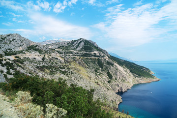 Mountains and the sea. The coast of the Mediterranean Sea.