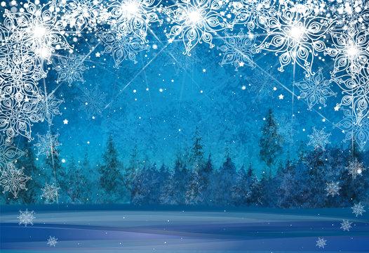 Vector winter wonderland background. Christmas card.