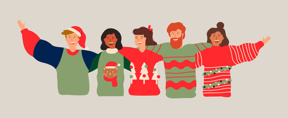 Diverse friend group banner for christmas party